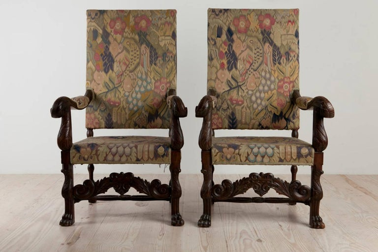 Baroque Historic Revival Armchairs, Origin Sweden, circa 1890 For Sale 5