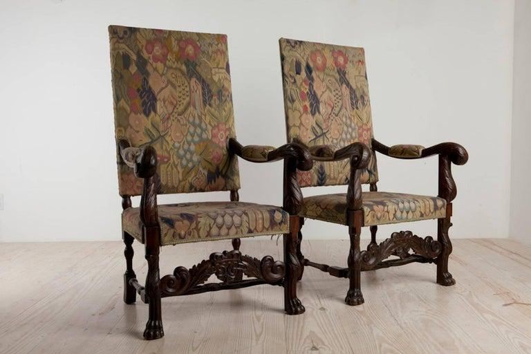 Baroque Revival Baroque Historic Revival Armchairs, Origin Sweden, circa 1890 For Sale