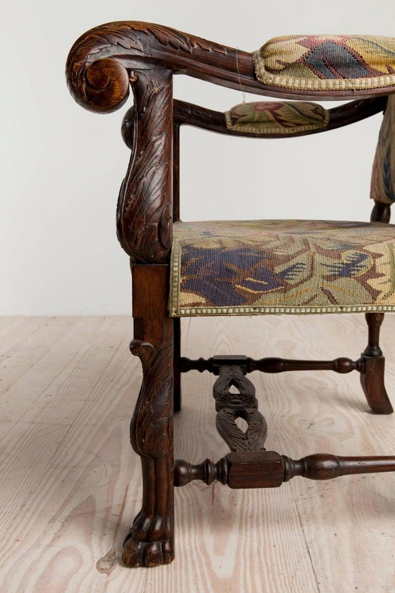 Swedish Baroque Historic Revival Armchairs, Origin Sweden, circa 1890 For Sale