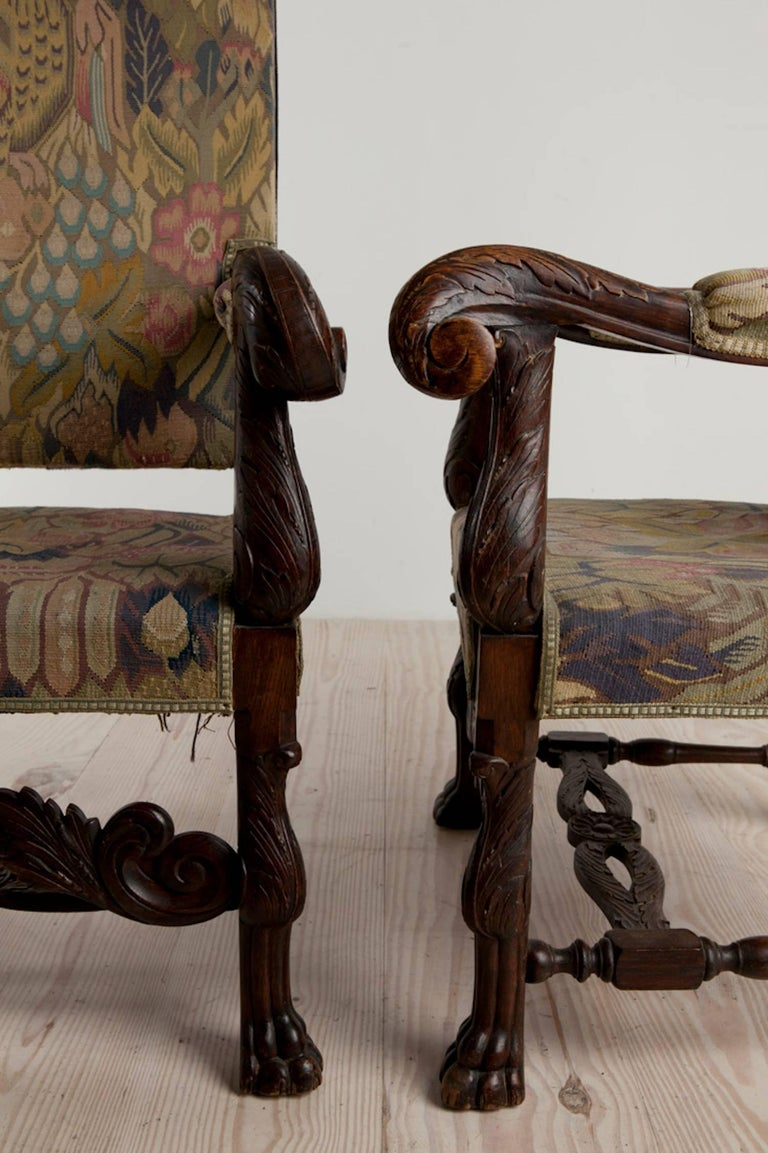 Hand-Carved Baroque Historic Revival Armchairs, Origin Sweden, circa 1890 For Sale