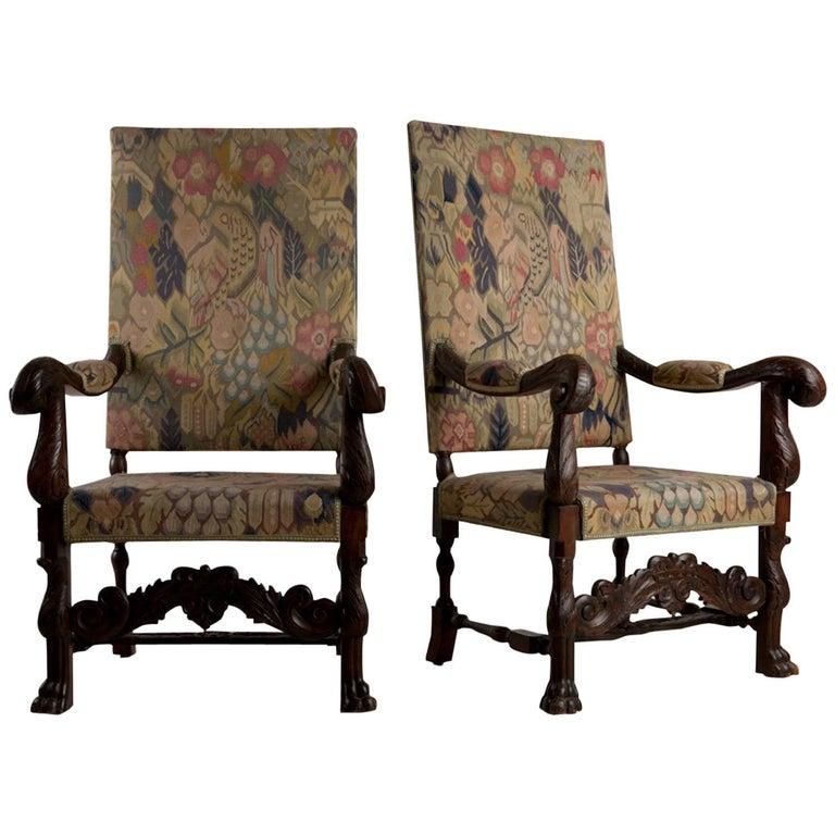 Baroque Historic Revival Armchairs, Origin Sweden, circa 1890 For Sale