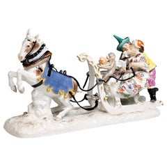 Baroque Meissen Group Sleigh Ride with The Court Jesters by Kaendler circa 1750