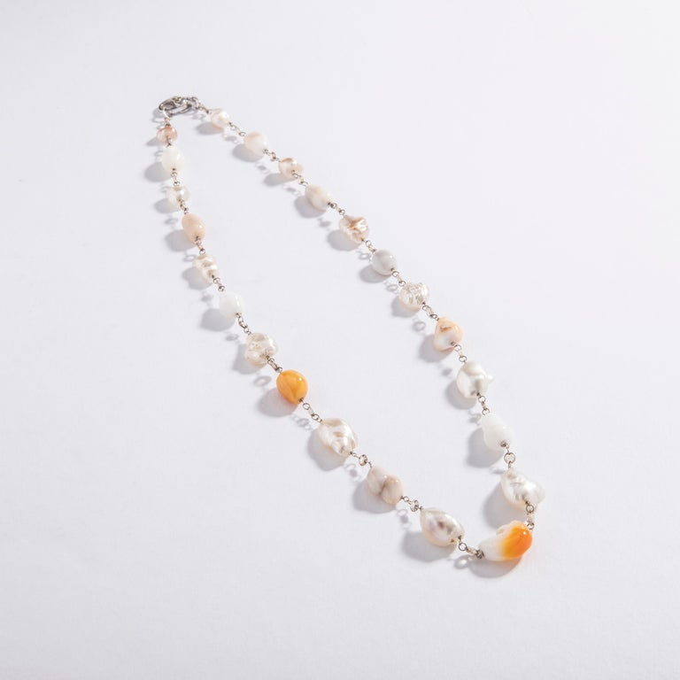 Contemporary Baroque Melo and White Pearl and Rose Cut Diamond White Gold 18 Karat Necklace For Sale