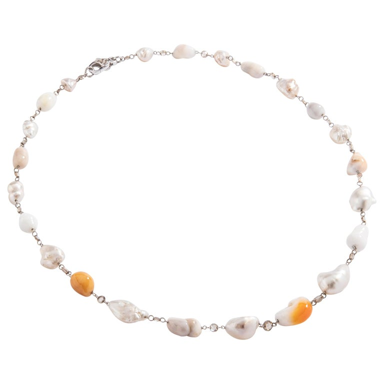 Baroque Melo and White Pearl and Rose Cut Diamond White Gold 18 Karat Necklace For Sale