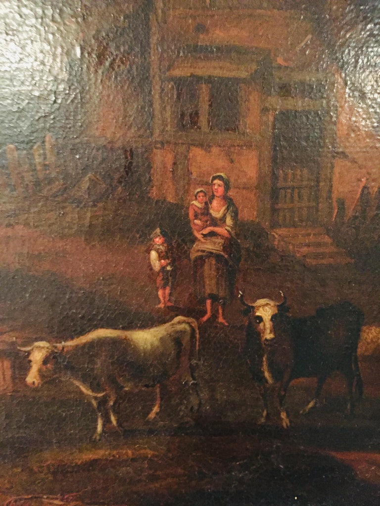 18th Century Baroque Old Master Oil Painting Farmer Family Beautiful View For Sale 3