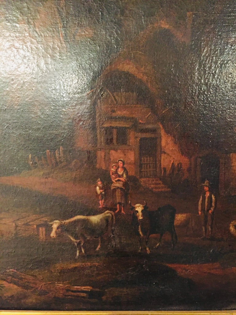 18th Century Baroque Old Master Oil Painting Farmer Family Beautiful View For Sale 6