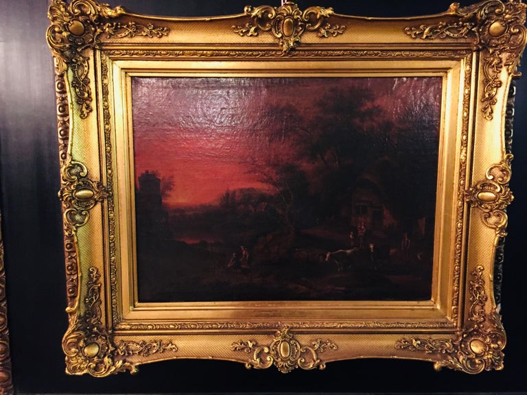 German 18th Century Baroque Old Master Oil Painting Farmer Family Beautiful View For Sale