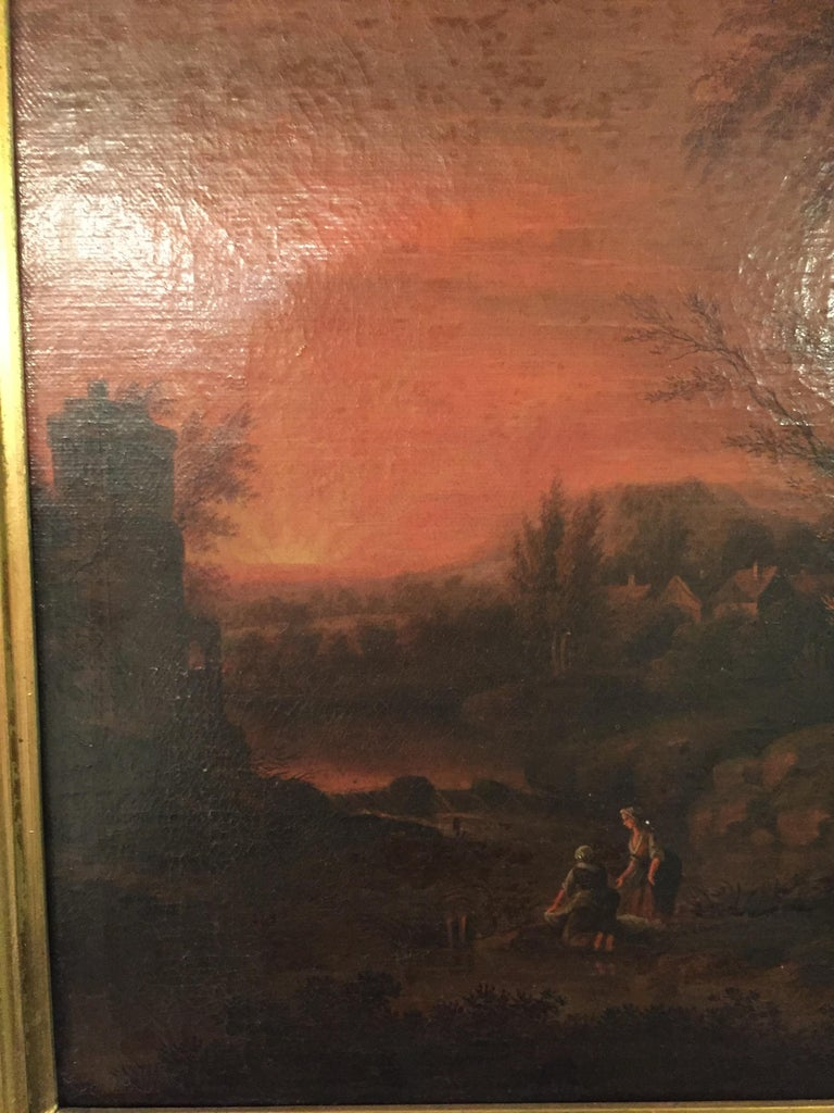 Oiled 18th Century Baroque Old Master Oil Painting Farmer Family Beautiful View For Sale