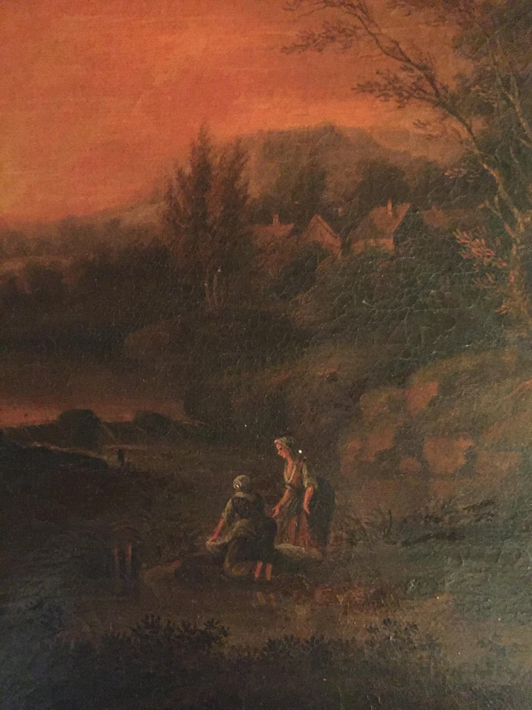 18th Century Baroque Old Master Oil Painting Farmer Family Beautiful View In Good Condition For Sale In Berlin, DE