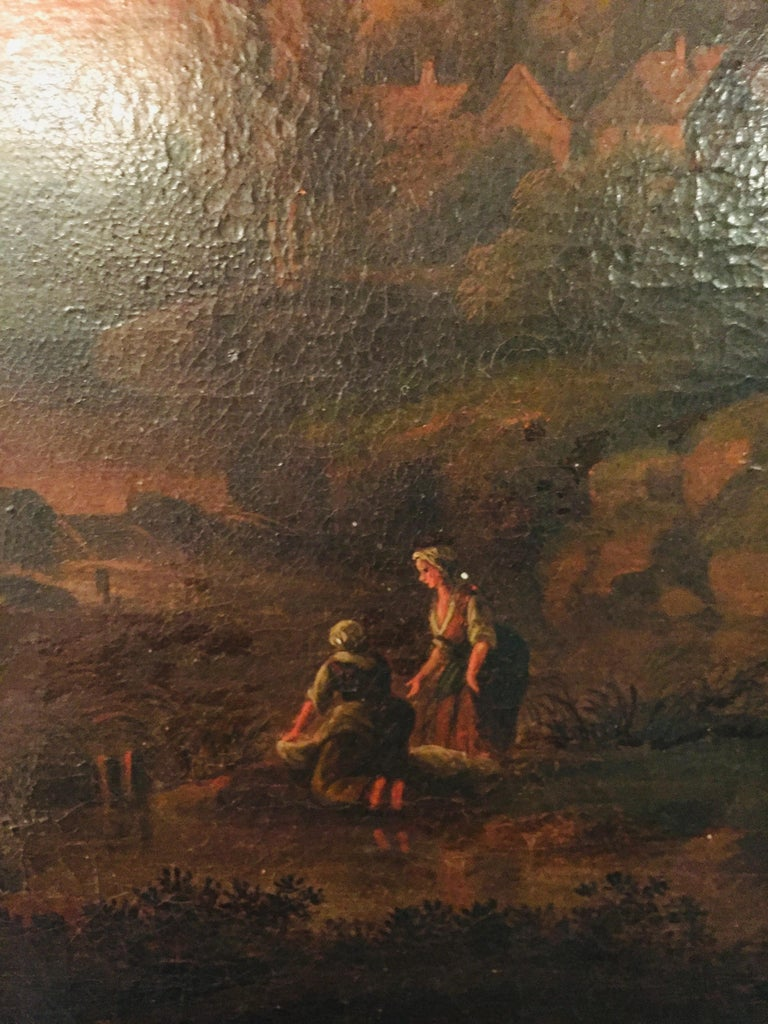 18th Century and Earlier 18th Century Baroque Old Master Oil Painting Farmer Family Beautiful View For Sale