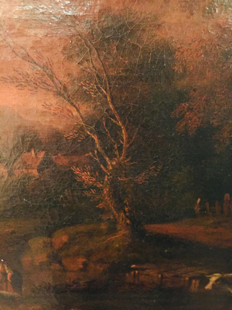 Canvas 18th Century Baroque Old Master Oil Painting Farmer Family Beautiful View For Sale