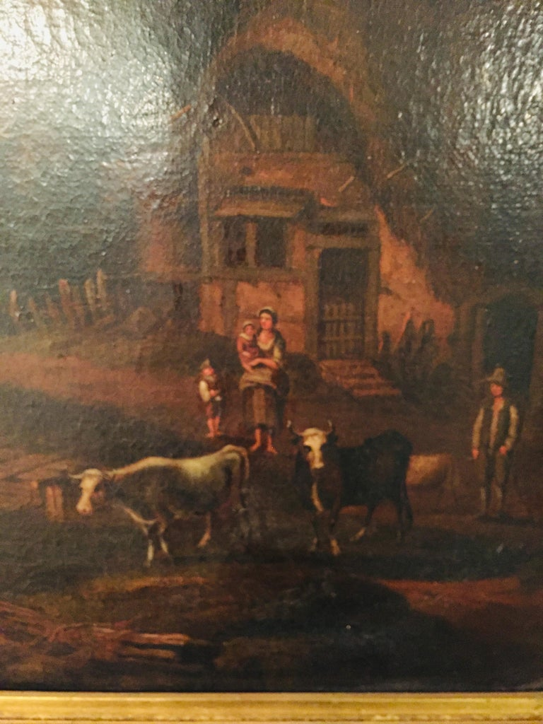18th Century Baroque Old Master Oil Painting Farmer Family Beautiful View For Sale 1