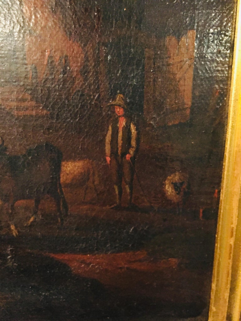 18th Century Baroque Old Master Oil Painting Farmer Family Beautiful View For Sale 2