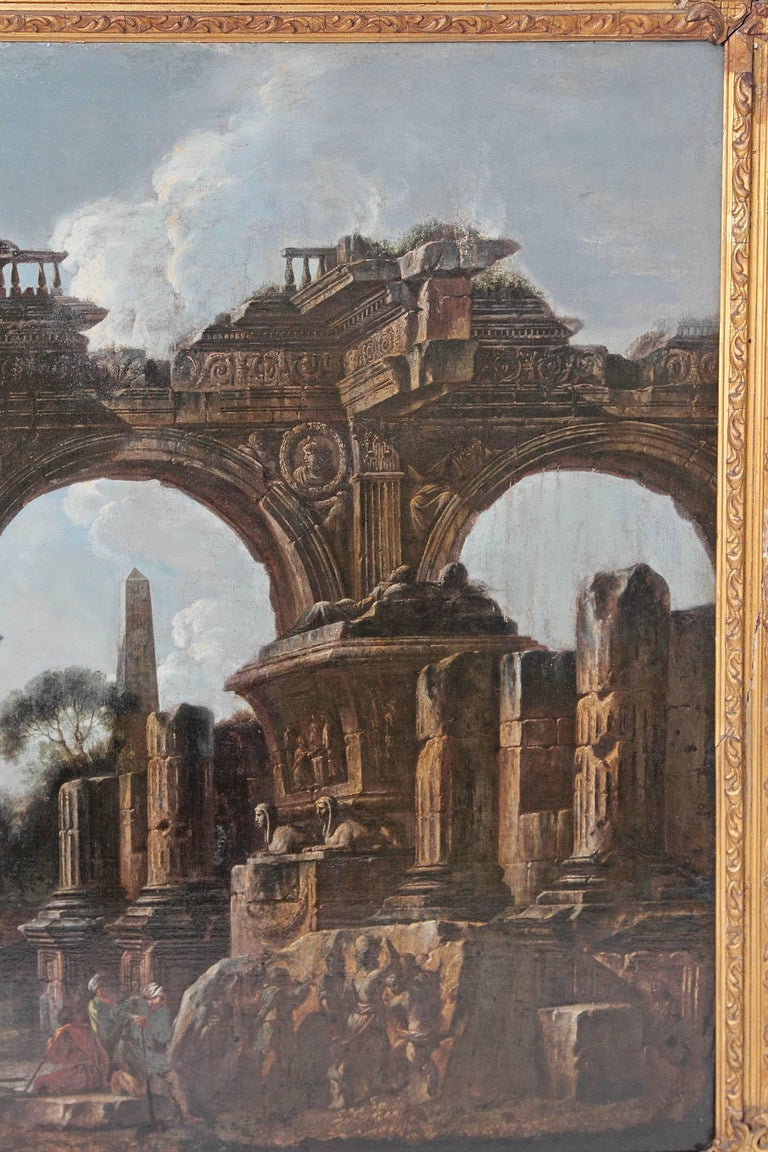 18th Century and Earlier Baroque Painting or Classical Ruins Attributed to Giovanni Ghisolfi For Sale