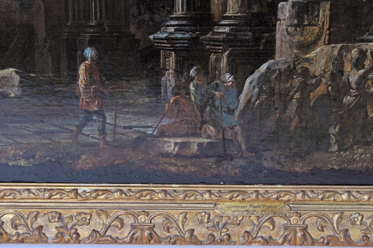 Canvas Baroque Painting or Classical Ruins Attributed to Giovanni Ghisolfi For Sale