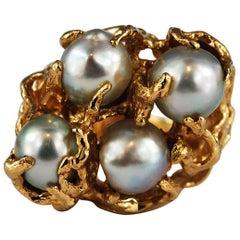 Baroque Pearl 14 Karat Gold Cocktail Ring Freeform Organic