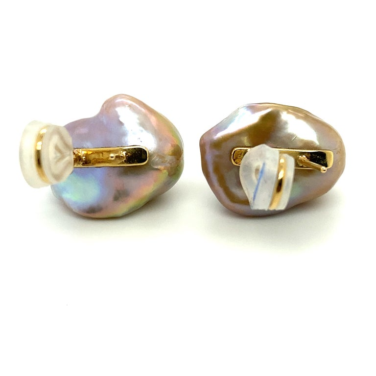 Uncut Baroque Pearl and 18 Karat Gold Earring For Sale
