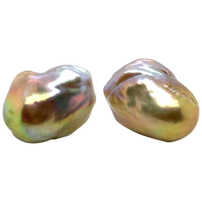 Baroque Pearl and 18 Karat Gold Earring For Sale