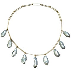 Baroque Pearl and 18 Karat Gold Necklace