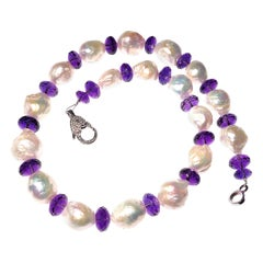 Gemjunky Baroque Pearl and Amethyst Necklace February Birthstone