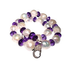 Baroque Pearl and Amethyst Necklace   February Birthstone