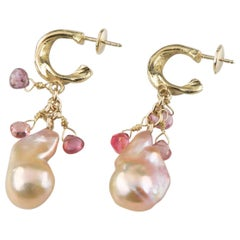 Baroque Pearl and Briolette Gemstone Dangle Earrings in Yellow Gold
