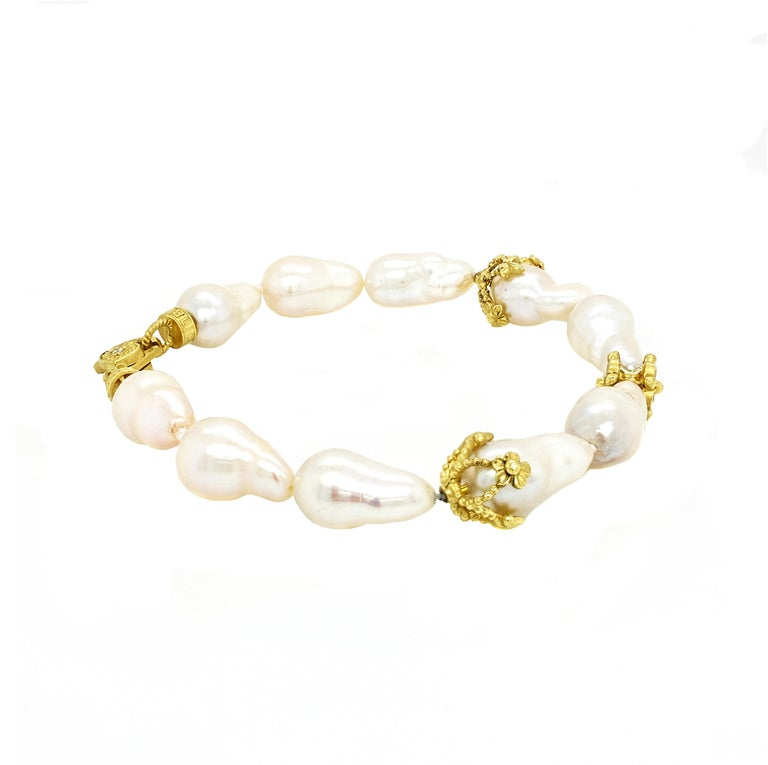 Baroque Pearl and Diamond Bracelet with Yellow Gold Stambolian In New Condition For Sale In Boca Raton, FL