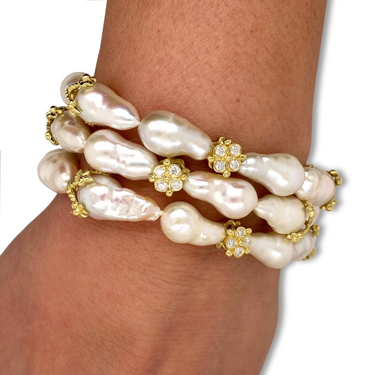 Women's Baroque Pearl and Diamond Bracelet with Yellow Gold Stambolian For Sale