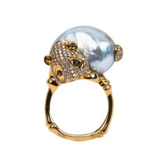 Baroque Pearl and Diamond Cocktail Ring