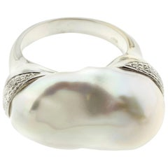 "Baroque Pearl and Diamond ""Cushion"" Ring in 18 Karat Gold"