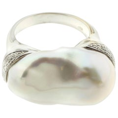 """Baroque Pearl and Diamond """"Cushion"""" Ring in 18 Karat White Gold"""
