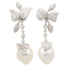 Baroque Pearl and Diamond Drop Earrings Set in Platinum