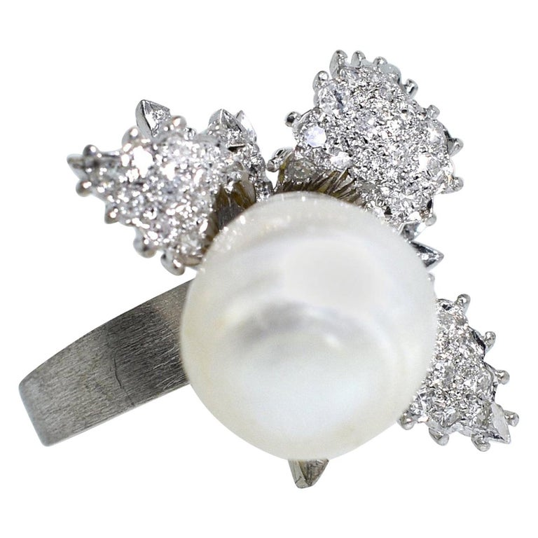 Baroque Pearl and Diamond Ring, circa 1960 For Sale