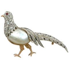 Baroque Pearl and Diamond Ruby and Yellow Gold Pheasant Brooch
