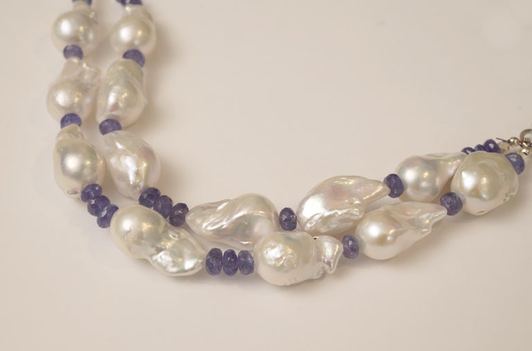 Baroque Pearl and Faceted Tanzanite Beaded Necklace In Excellent Condition For Sale In Nantucket, MA