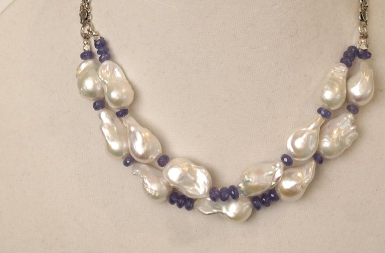 Women's or Men's Baroque Pearl and Faceted Tanzanite Beaded Necklace For Sale