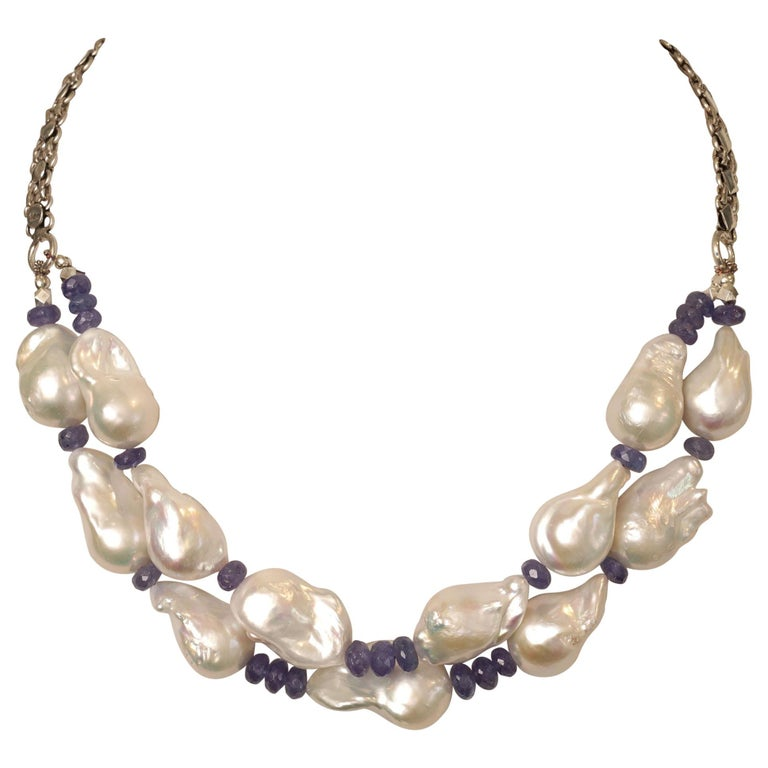 Baroque Pearl and Faceted Tanzanite Beaded Necklace For Sale