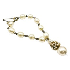 Baroque pearl and gilt metal drop bracelet, Miriam Haskell, 1950s