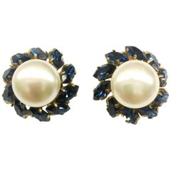 Baroque pearl and rich sapphire paste earrings, Chanel, 1950s/60s, France.