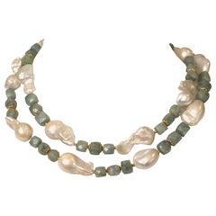 Baroque Pearl, Aquamarine and 22 Karat Gold Long or Double Strand Necklace