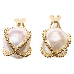 Baroque Pearl Clip-On Gold Earrings