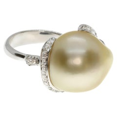 Baroque Pearl Cocktail Ring with Diamonds in 18K White Gold