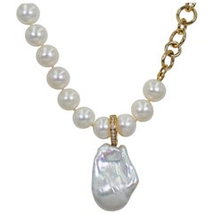 Baroque Pearl, Diamond and 14 Karat Gold Beaded Pearl Pendant Necklace