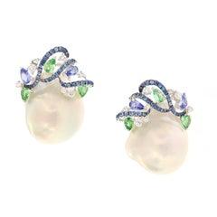 Baroque Pearl Diamond Garnet Sapphire Earrings