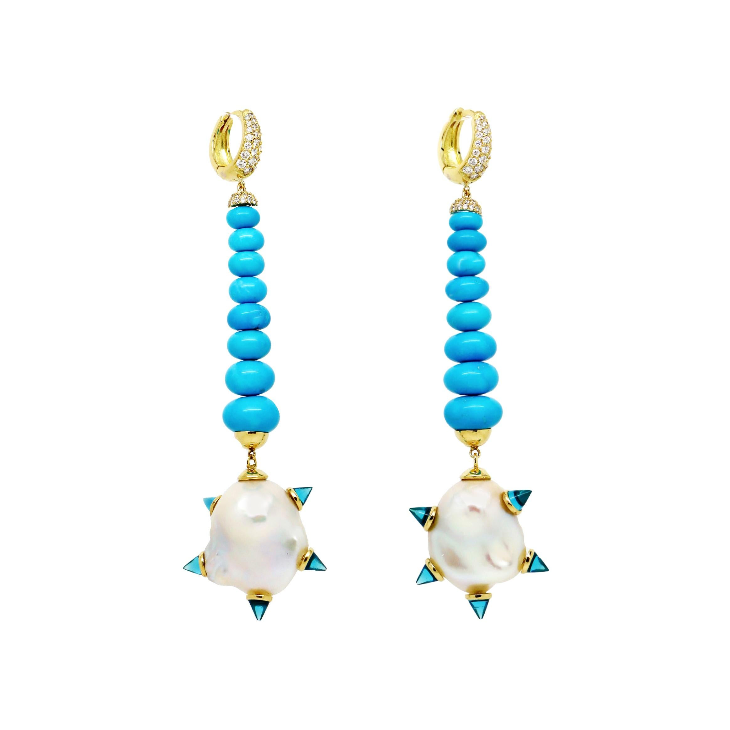 Baroque Pearl Diamond Turquoise Drop Earrings, London Blue Topaz, 18k Gold