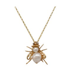 Baroque Pearl Diamond Winged Insect Pendant Necklace Brooch 14 Karat Gold