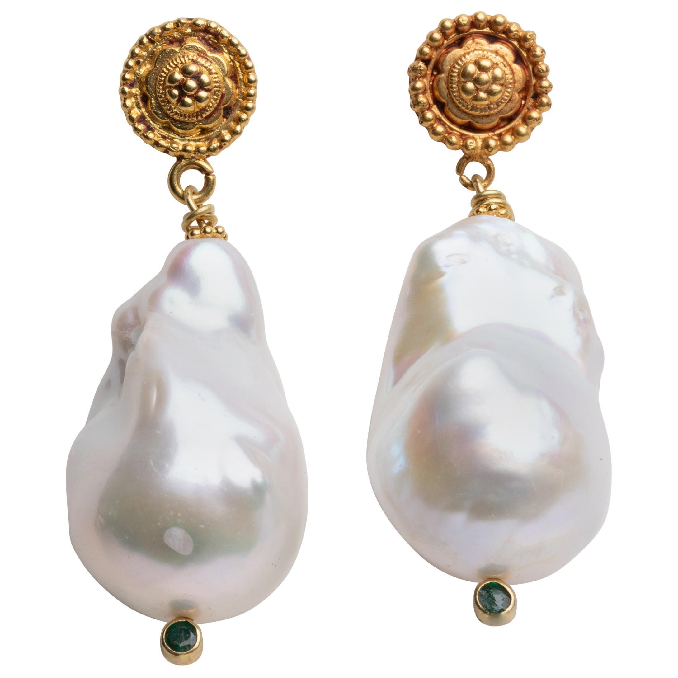 Baroque Pearl, Emerald and 22K Gold Drop Earrings by Deborah Lockhart Phillips