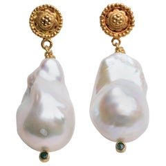 Baroque Pearl, Emerald and 22K Gold Drop Earrings by Deborah Lockhart Phillips