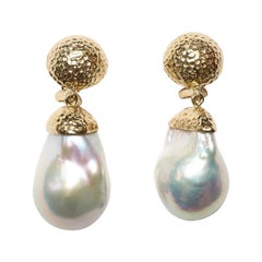 Baroque Pearl Hand-Hammered Clip-On Gold Earrings
