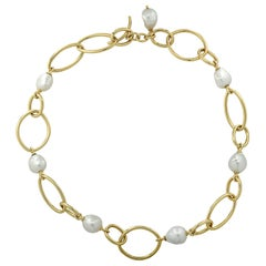 Baroque Pearl Marquise and Oval Yellow Gold Link Necklace